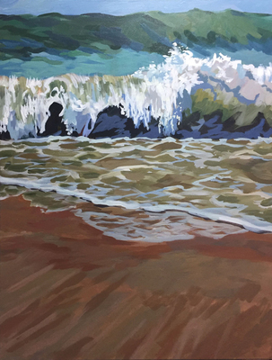 Title: Big Shore Break , Size: 40x30 , Medium: Acrylic on Canvas , Price: $1,800