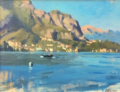 Larry Moore - Passenger, Lake Como - Oil on Canvas - 11x14