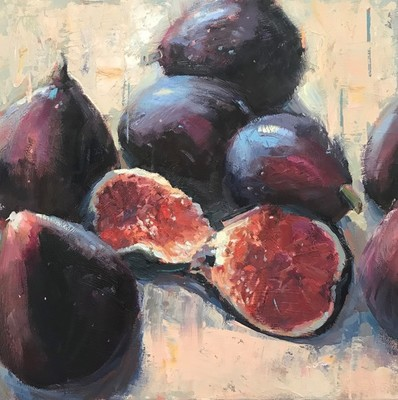 Title: Fresh Figs , Size: 18x18 , Medium: Oil on Canvas , Price: $1,300