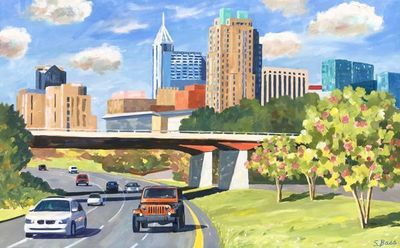 Title: The Raleigh Skyline , Size: 30x48 , Medium: Oil on Canvas , Price: $3,000