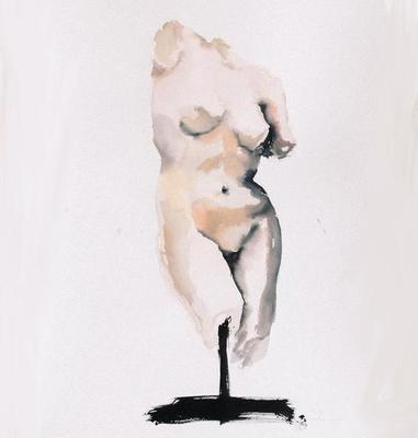 Title: Helenistic Aphrodite , Size: 52x36 , Medium: Ink & Watercolor on Paper , Price: $1,200