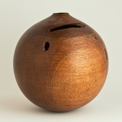 Title: Natural Wormy Persimmon Hollow #440 , Size: 5 x 4 1/2 , Medium: Persimmon Wood , Price: $120