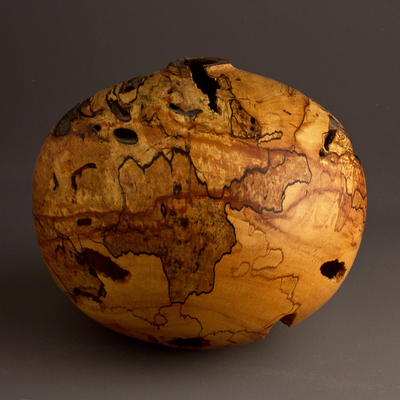 Title: Spalted Wormy Apple Hollow #508 , Size: 5 x 6 , Medium: Apple Wood , Price: $240
