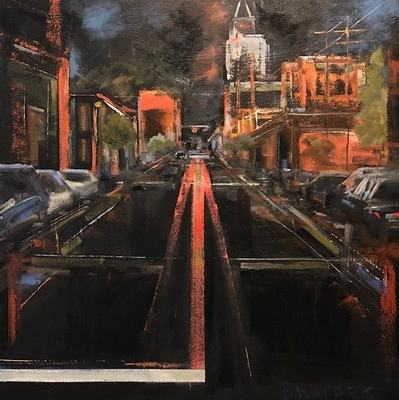 Title: After Midnight (Downtown Raleigh) , Size: 30x30 , Medium: Oil on Canvas , Price: $1,550