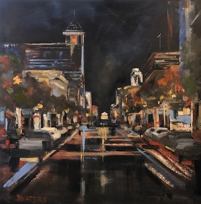 Title: Night on the Town (Downtown Raleigh) , Size: 30x30 , Medium: Oil on Canvas , Price: $1,550