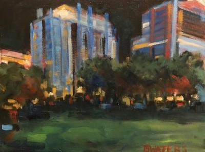 Title: Night Show-Moore Square , Size: 12x16 , Medium: Oil on Canvas , Price: $300