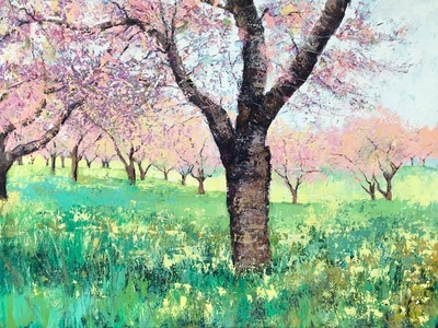 Title: Cherry Blossoms , Size: 36x48 , Medium: Acrylic on Canvas , Price: $3,000