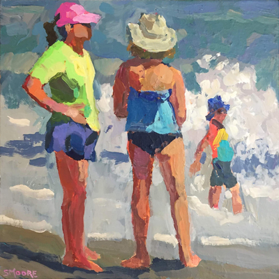 Title: Beach Moms , Size: 12x12 , Medium: Acrylic on Canvas , Price: $300