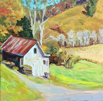Title: Valle Crucis Barn , Size: 12x12 , Medium: Acrylic on Canvas , Price: $300