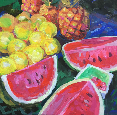 Title: Watermelon Delight , Size: 12x12 , Medium: Acrylic on Canvas , Price: $300