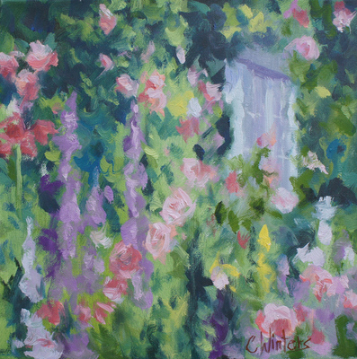 Title: Wall of Flowers , Size: 12x12 , Medium: Oil on Canvas , Price: $450