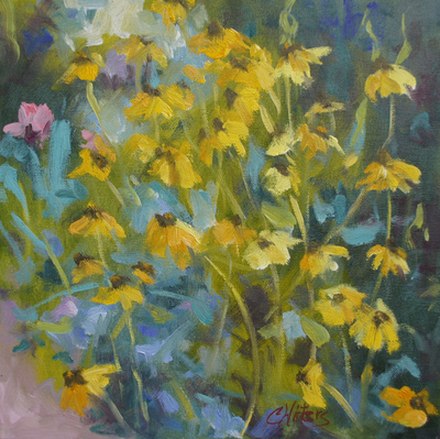 Title: Happy Blackeyed Susans , Size: 12x12 , Medium: Oil on Canvas , Price: $450