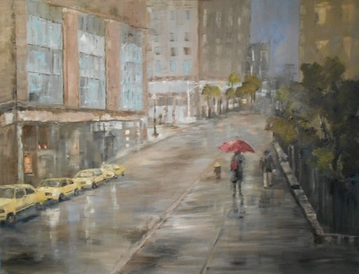 Becky Denmark - Rainy Day in the City - Oil on Canvas - 30x40