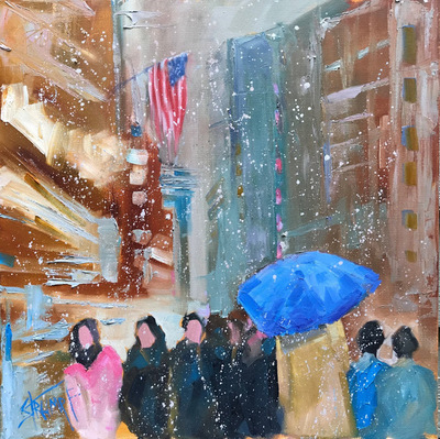 Gina Strumpf - Midtown Blues - Oil on Canvas - 24x24