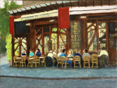 Title: Le Bistro De Peintre , Size: 12x16 , Medium: Oil on Canvas , Price: $575