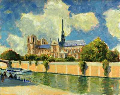 Title: Sunny on the Seine , Size: 11x14 , Medium: Oil on Canvas , Price: $500
