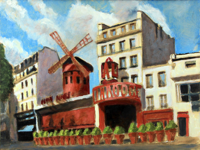 David Zimmerman - Moulin Rouge - Oil on Canvas - 12x16