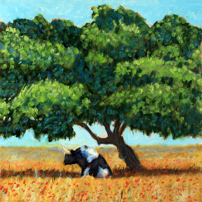 Title: Ferdinand Under the Cork Tree , Size: 12x12 , Medium: Oil on Canvas , Price: $300