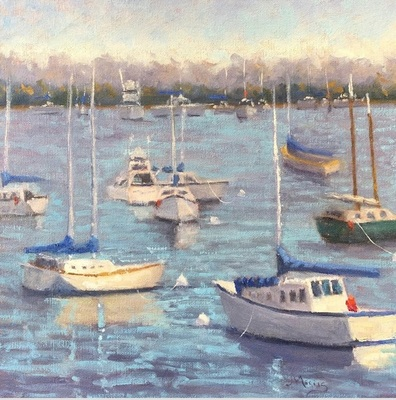 Title: Crowded Harbor , Size: 12x12 , Medium: Oil on Canvas , Price: $495
