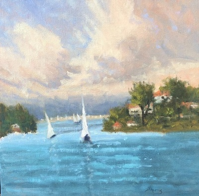 Title: With Sails Raised , Size: 12x12 , Medium: Oil on Canvas , Price: $495