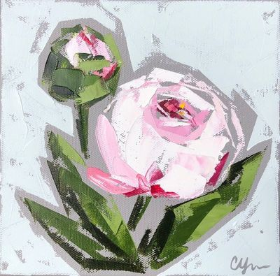 Title: Peonies No.12 , Size: 8x8 , Medium: Oil on Canvas , Price: $250