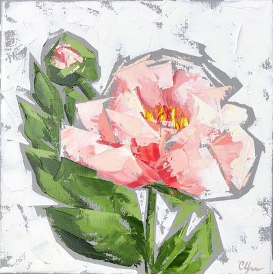 Title: Peonies No. 10 , Size: 12x12 , Medium: Oil on Canvas , Price: $350