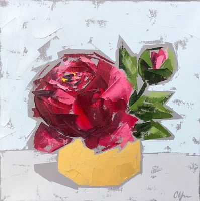 Title: Red Peonies In Gold No. 1 , Size: 12x12 , Medium: Oil on Canvas , Price: $350