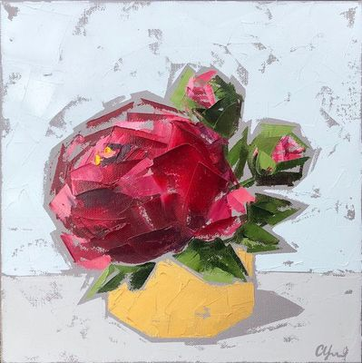 Title: Red Peonies In Gold No. 2 , Size: 12x12 , Medium: Oil on Canvas , Price: $350