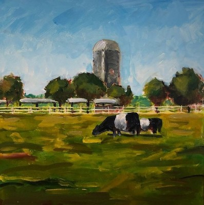 Larry Dean - Fearrington Belties - Acrylic on Canvas - 12x12