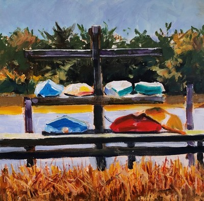 Larry Dean - Beaufort Boats - Acrylic on Canvas - 12x12