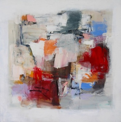 Charlotte Foust - Crimson White - Acrylic on Canvas - 48x48