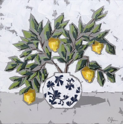Title: Lemons in Chinoiserie VII , Size: 24x24 , Medium: Acrylic on Canvas , Price: $800