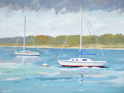 Sharon Bass - Sailboats Anchored on a Silver Seascape