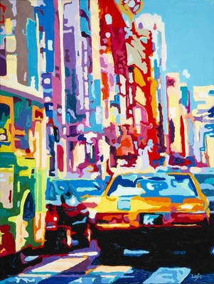 Title: Muscle Car In Big City , Size: 40x30 , Medium: Acrylic on Canvas , Price: $2,500
