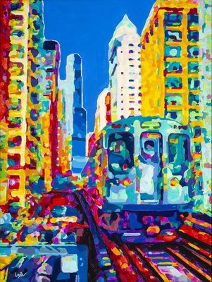Title: Chicago - Upper Trax , Size: 40x30 , Medium: Acrylic on Canvas , Price: $2,500