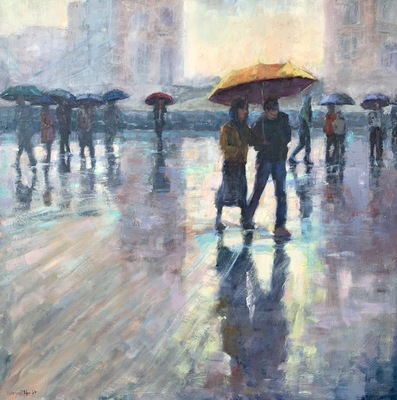 Title: Love in London , Size: 40x40 , Medium: Oil on Canvas , Price: $3,300