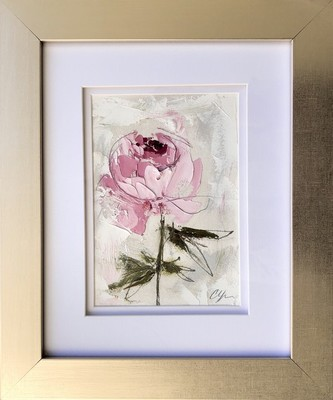 Title: Peonies Vignette X , Size: 7x5 , Medium: Oil and Graphite on Cold Pressed Oil Paper , Price: $225