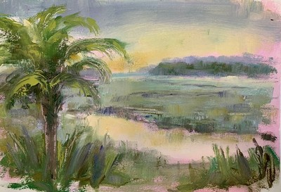 Allison Chambers - Palm Study - Oil on Paper - 9x12