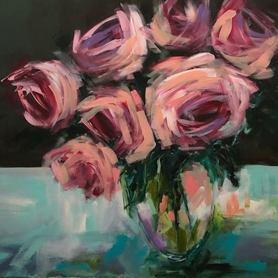 Title: Roses on Aqua Tablespace , Size: 36x36 , Medium: Mixed Media , Price: $1,650