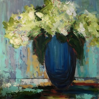 Title: Lime Green Hydrangeas in Blue Vase , Size: 36x36 , Medium: Mixed Media , Price: $1,650