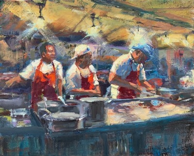 Susan Hecht - Late Night Menu - Oil on Canvas - 16x20