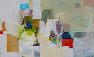 Charlotte Foust - Blue Square - Acrylic on Canvas - 30x48
