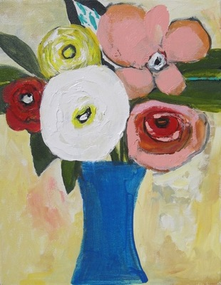 Charlotte Foust - Summer Bouquet - Acrylic on Canvas - 14x11
