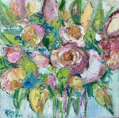 Allison Chambers - Joyful Bouquet - Oil on Canvas - 12x12