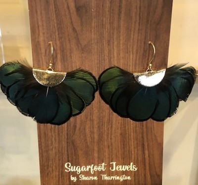 Sugarfoot Jewels - Feather Earrings Forest Green - Jewelry