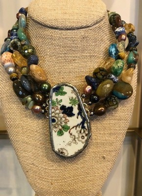 Sugarfoot Jewels - Pottery Shard Triple Strand Necklace - Jewelry - 9""