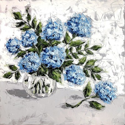 Title: Hydrangea in Glass VI , Size: 36x36 , Medium: Oil & Graphite on Canvas , Price: $2,200