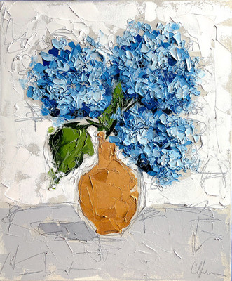 Title: Hydrangea in Gold III , Size: 24x20 , Medium: Oil & Graphite on Canvas , Price: $975