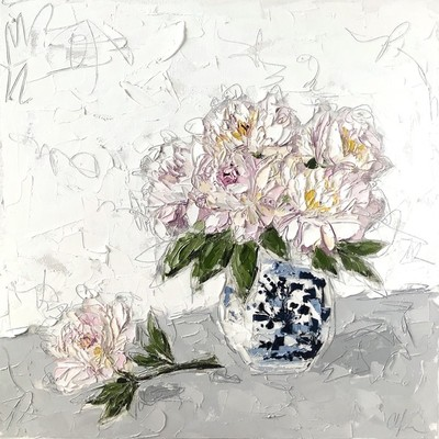 Title: Peonies in Chinoiserie I , Size: 24x24 , Medium: Oil & Graphite on Canvas