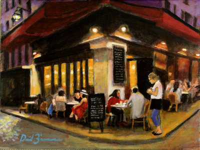 David Zimmerman - A Late Night Supper - Oil on Canvas - 12x16